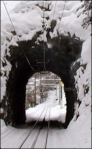 One of the train tunnels